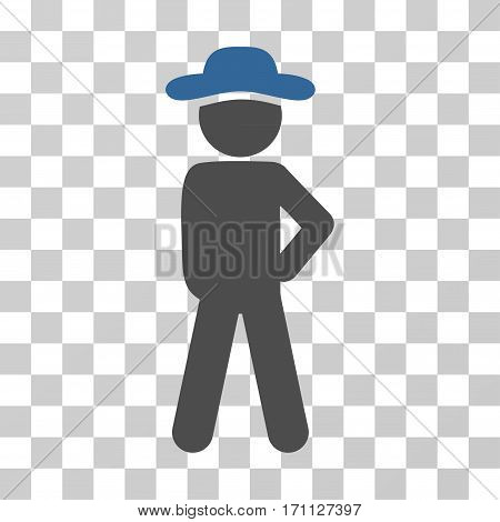 Gentleman Audacity icon. Vector illustration style is flat iconic bicolor symbol cobalt and gray colors transparent background. Designed for web and software interfaces.