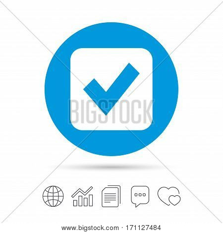 Check mark sign icon. Checkbox button. Copy files, chat speech bubble and chart web icons. Vector