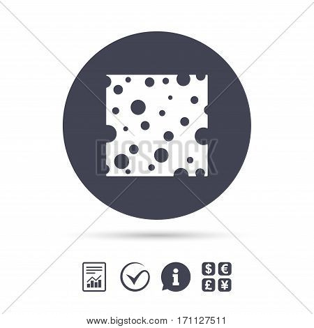 Cheese sign icon. Slice of cheese symbol. Square cheese with holes. Report document, information and check tick icons. Currency exchange. Vector