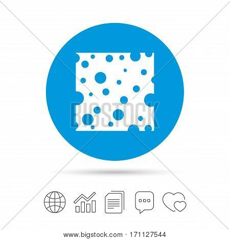 Cheese sign icon. Slice of cheese symbol. Square cheese with holes. Copy files, chat speech bubble and chart web icons. Vector