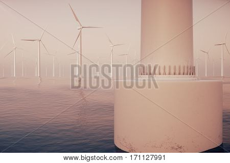 Offshore wind farm turbines caught in sunset sky. Beautiful contrast with the blue sea. ecological concept, 3d rendering