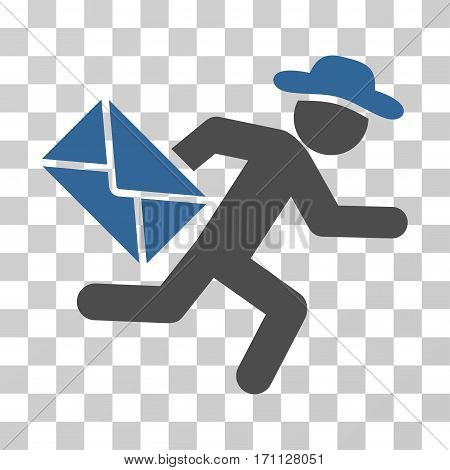 Gentleman Mail Courier icon. Vector illustration style is flat iconic bicolor symbol cobalt and gray colors transparent background. Designed for web and software interfaces.