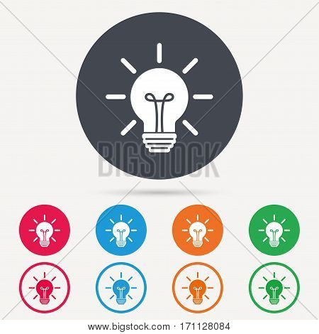 Light bulb icon. Lamp sign. Illumination technology symbol. Round circle buttons. Colored flat web icons. Vector