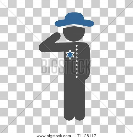 Gentleman Officer icon. Vector illustration style is flat iconic bicolor symbol cobalt and gray colors transparent background. Designed for web and software interfaces.