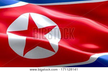 North Korea Flag Waving Texture Fabric Background, Crisis Of North And South Korea, Korean Risk Nucl