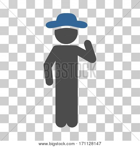 Gentleman Opinion icon. Vector illustration style is flat iconic bicolor symbol cobalt and gray colors transparent background. Designed for web and software interfaces.