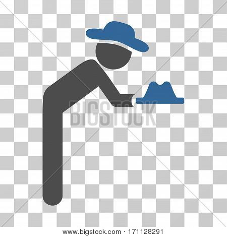 Gentleman Servant icon. Vector illustration style is flat iconic bicolor symbol cobalt and gray colors transparent background. Designed for web and software interfaces.