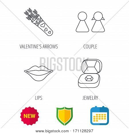 Couple, kiss lips and jewelry icons. Valentine amour arrows linear sign. Shield protection, calendar and new tag web icons. Vector