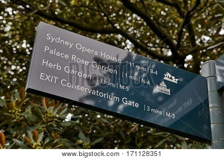 SYDNEY - APRIL 3, 2015: Direction sign showing Sydney Opera House in Hyde Park