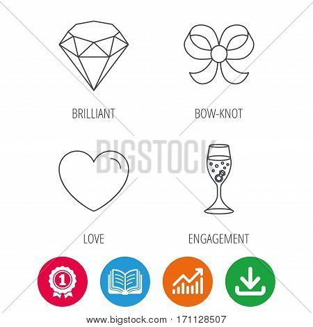 Love heart, brilliant and engagement ring icons. Bow-knot linear sign. Award medal, growth chart and opened book web icons. Download arrow. Vector