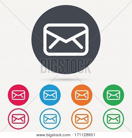 Envelope icon. Send email message sign. Internet mailing symbol. Round circle buttons. Colored flat web icons. Vector