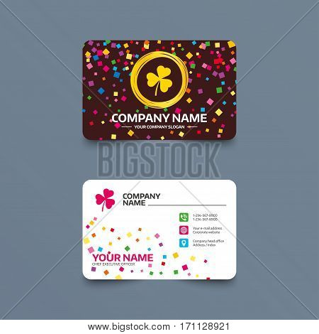 Business card template with confetti pieces. Clover with three leaves sign icon. Trifoliate clover. Saint Patrick trefoil symbol. Phone, web and location icons. Visiting card  Vector