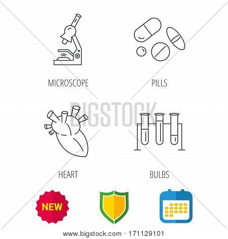 Microscope, medical pills and heart icons. Lab bulbs linear sign. Shield protection, calendar and new tag web icons. Vector