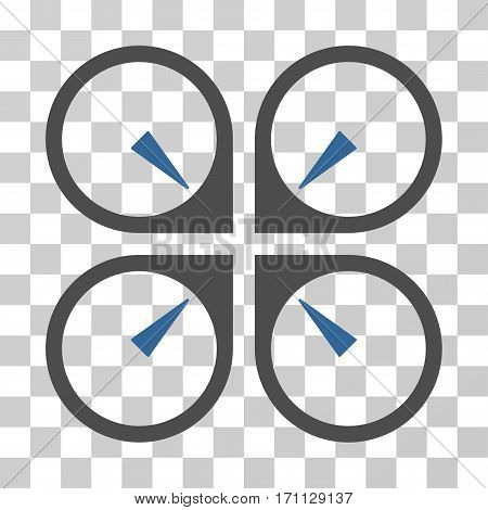 Hover Drone icon. Vector illustration style is flat iconic bicolor symbol cobalt and gray colors transparent background. Designed for web and software interfaces.