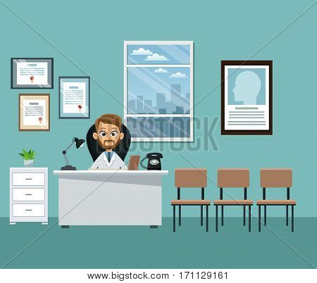 doctor office professional practitioner vector illustration eps 10