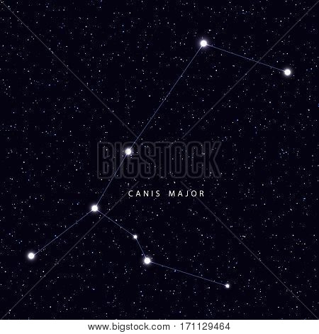 Sky Map with the name of the stars and constellations. Astronomical symbol constellation Canis major
