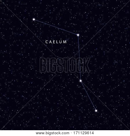 Sky Map with the name of the stars and constellations. Astronomical symbol constellation caelum