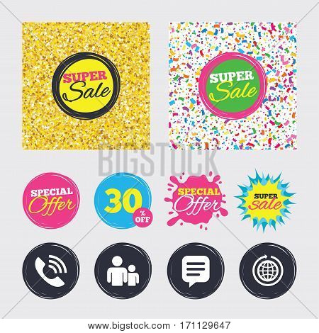 Gold glitter and confetti backgrounds. Covers, posters and flyers design. Group of people and share icons. Speech bubble and round the world arrow symbols. Communication signs. Sale banners. Vector