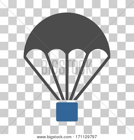 Parachute icon. Vector illustration style is flat iconic bicolor symbol cobalt and gray colors transparent background. Designed for web and software interfaces.