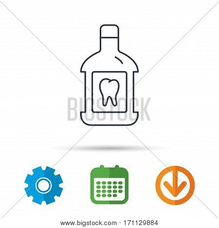 Mouthwash icon. Oral antibacterial liquid sign. Calendar, cogwheel and download arrow signs. Colored flat web icons. Vector