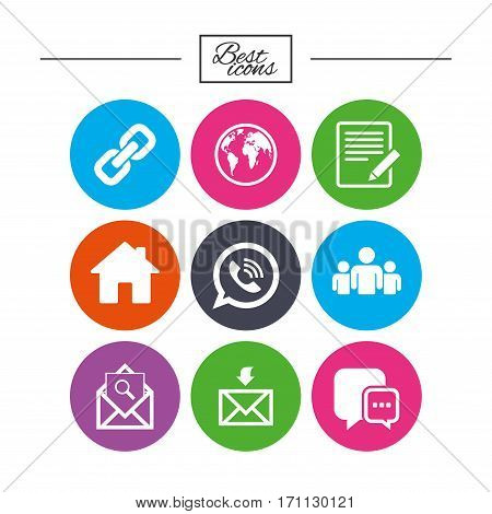 Communication icons. Contact, mail signs. E-mail, call phone and group symbols. Classic simple flat icons. Vector