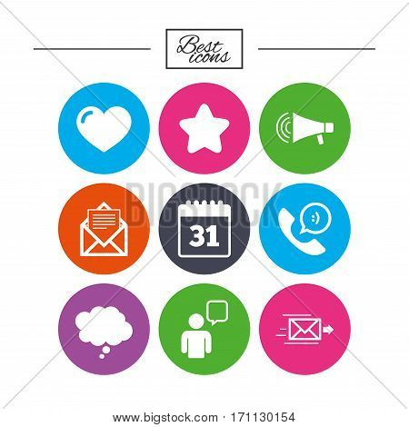 Mail, contact icons. Favorite, like and calendar signs. E-mail, chat message and phone call symbols. Classic simple flat icons. Vector