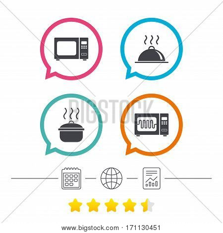 Microwave grill oven icons. Cooking pan signs. Food platter serving symbol. Calendar, internet globe and report linear icons. Star vote ranking. Vector