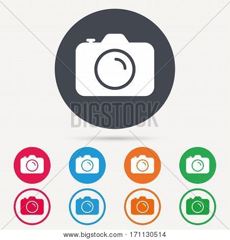 Camera icon. Professional photocamera symbol. Round circle buttons. Colored flat web icons. Vector