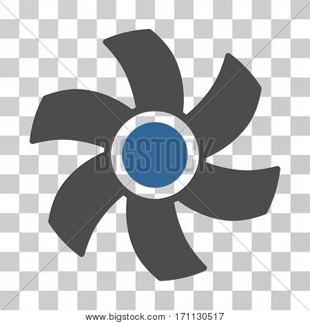 Rotor icon. Vector illustration style is flat iconic bicolor symbol cobalt and gray colors transparent background. Designed for web and software interfaces.