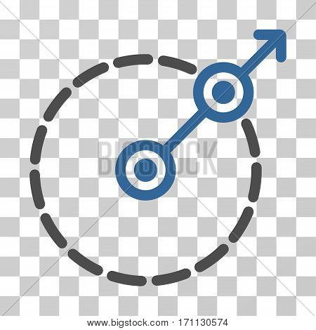 Round Area Exit icon. Vector illustration style is flat iconic bicolor symbol cobalt and gray colors transparent background. Designed for web and software interfaces.
