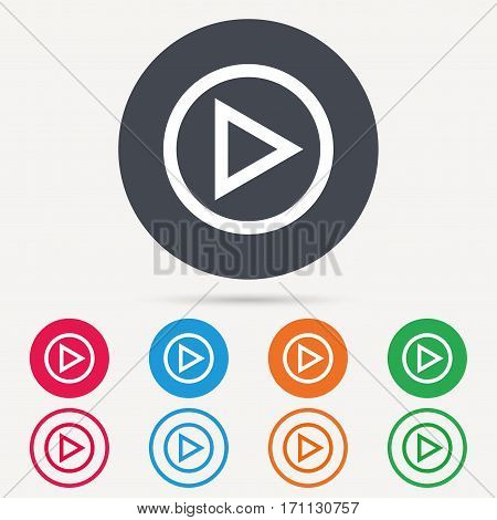 Play icon. Audio or Video player symbol. Round circle buttons. Colored flat web icons. Vector