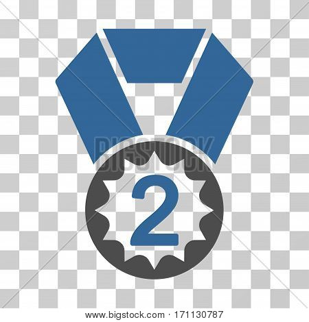 Second Place icon. Vector illustration style is flat iconic bicolor symbol cobalt and gray colors transparent background. Designed for web and software interfaces.