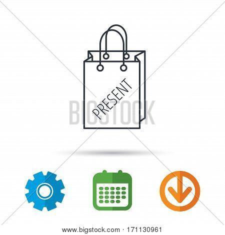 Present shopping bag icon. Gift handbag sign. Calendar, cogwheel and download arrow signs. Colored flat web icons. Vector