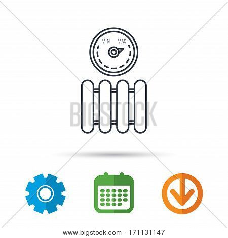 Radiator with regulator icon. Heater sign. Maximum temperature. Calendar, cogwheel and download arrow signs. Colored flat web icons. Vector