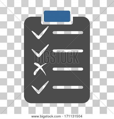 Task List icon. Vector illustration style is flat iconic bicolor symbol cobalt and gray colors transparent background. Designed for web and software interfaces.