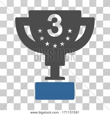 Third Prize Cup icon. Vector illustration style is flat iconic bicolor symbol cobalt and gray colors transparent background. Designed for web and software interfaces.
