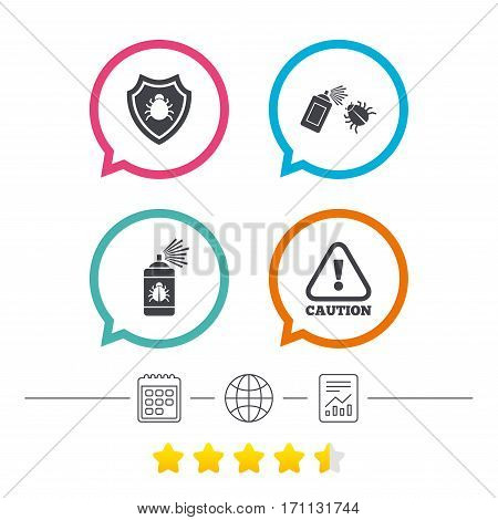 Bug disinfection icons. Caution attention and shield symbols. Insect fumigation spray sign. Calendar, internet globe and report linear icons. Star vote ranking. Vector