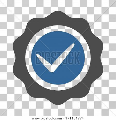 Valid Seal icon. Vector illustration style is flat iconic bicolor symbol cobalt and gray colors transparent background. Designed for web and software interfaces.