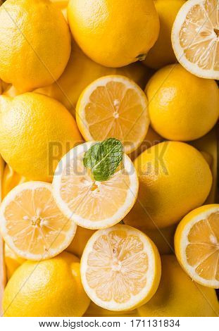 Background with lemons closeup. Lemons. lemon halves