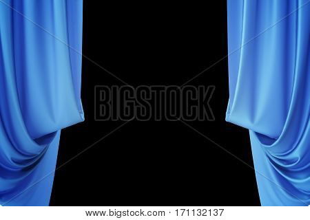 Blue silk curtains for theater and cinema spotlit light in the center, 3d rendering