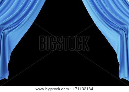 Open blue silk curtains for theater and cinema with a black background, 3d rendering