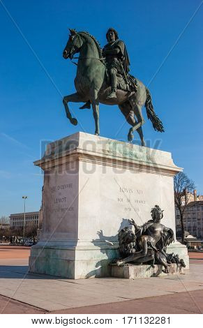 Bronze equestrian statue of King Louis XIV in Place Bellecour Central Lyon France Europe