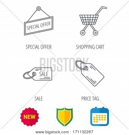 Shopping cart, price tag and sale coupon icons. Special offer label linear sign. Shield protection, calendar and new tag web icons. Vector
