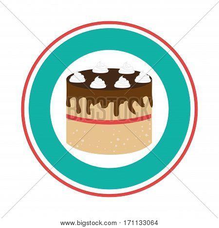 colorful circular border with cake birthday vector illustration