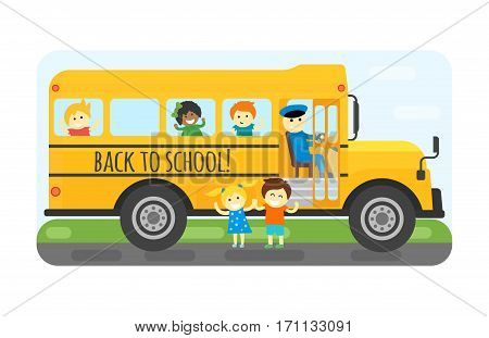 Illustration of school kids riding yellow schoolbus transportation education. Student child isolated safety stop drive vector. Travel automobile public trip childhood truck.