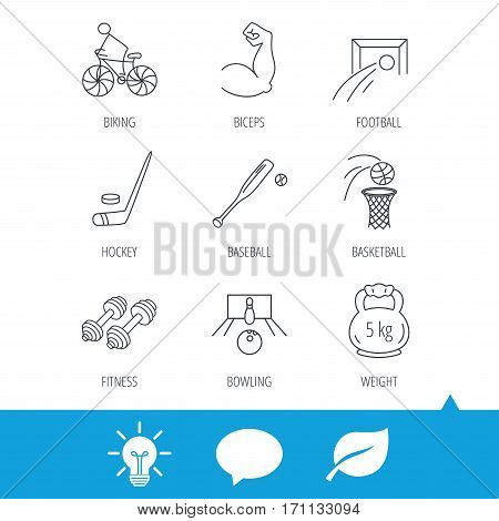 Ice hockey, football and basketball icons. Fitness sport, baseball and bowling linear signs. Biking, weightlifting icons. Light bulb, speech bubble and leaf web icons. Vector
