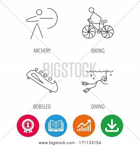 Diving, biking and archery icons. Bobsled linear sign. Award medal, growth chart and opened book web icons. Download arrow. Vector
