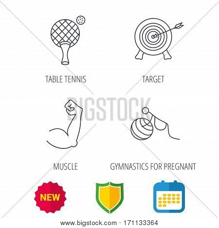Target, table tennis and biceps icons. Gymnastics for pregnant linear sign. Shield protection, calendar and new tag web icons. Vector