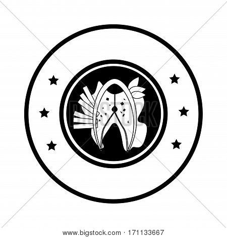 circular border with silhouette dish with fish steak with potatos and lettuce vector illustration