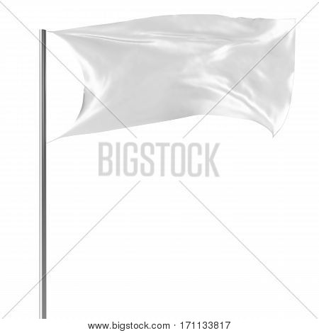 White flag on flagpole flying in the wind empty mock-up, flag isolated on white background. Blank Mock-up for your design projects, 3d rendering